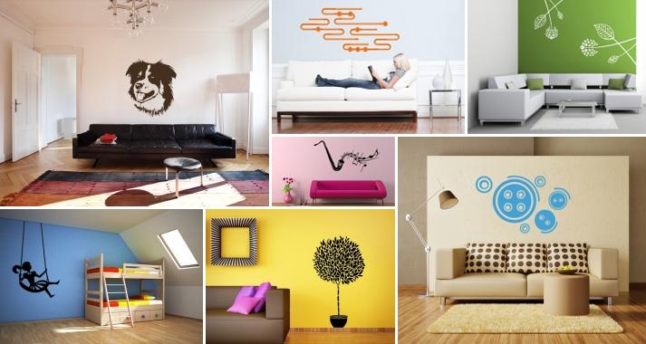 Samolepky na zeď rozličných tvarů a barev, zdroj: lepime.cz